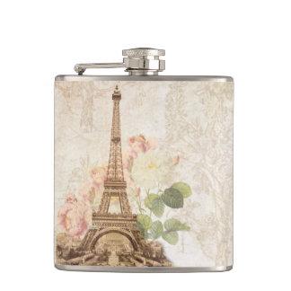 Paris Pink Rose Vintage Romantic Flask Flasks