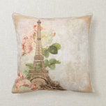 "Paris Pink Rose Vintage Romantic Pillow<br><div class=""desc"">A lovely image of the Eiffel Tower from the Paris Exposition in 1889 along with beautiful pink and white vintage roses on a textured background with a faint hint of floral damask make a beautiful romantic throw pillow. Look for a card, bag, iPhone case, invitations, stamps and other matching vintage...</div>"