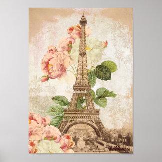 Paris Pink Rose Vintage Romantic Poster or Print
