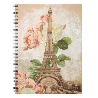 Paris Pink Rose Vintage Romantic Spiral Notebook