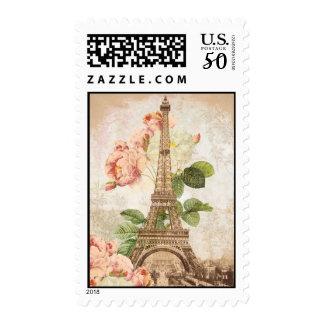 Paris Pink Rose Vintage Romantic Stamp