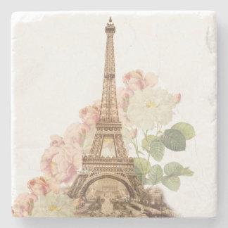 Paris Pink Rose Vintage Romantic Stone Coaster