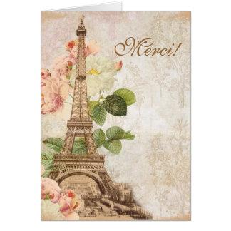 Paris Pink Rose Vintage Romantic Thank You Card