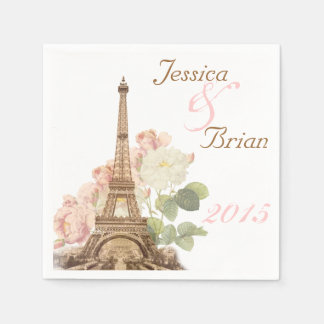 Paris Pink Rose Vintage Romantic Wedding Napkins