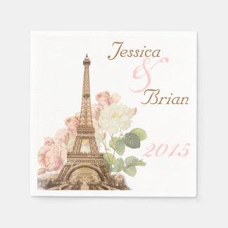 Paris Pink Rose Vintage Romantic Wedding Napkins Paper Napkin