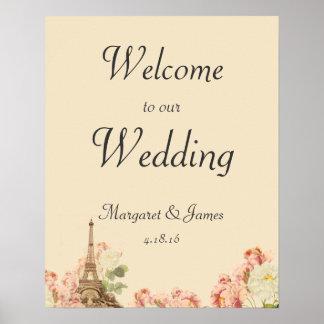 Paris Pink Rose Vintage Romantic Wedding Welcome Poster