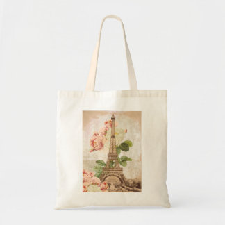 Paris Pink Rose Vintage Tote Bag