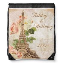 Paris Pink Rose Wedding Drawstring Backpack