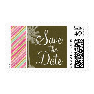 Paris; Pink & Seafoam Striped Postage
