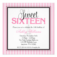 Paris Pink Stripes Sweet 16 Birthday Invitations Personalized Invitation
