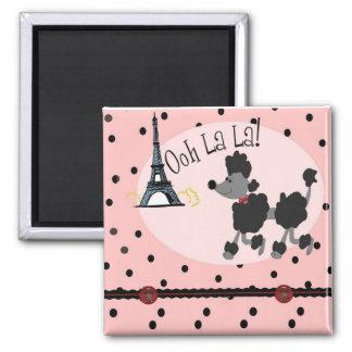 Paris Poodle 2 Inch Square Magnet