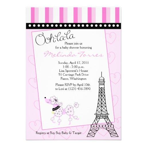 paris poodle 5x7 pink baby shower invitation zazzle