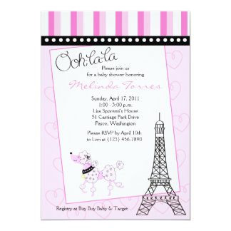 Paris Poodle 5x7 Pink Baby Shower Invitation