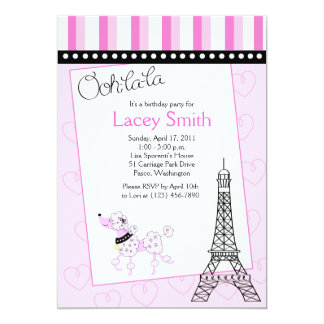 Paris Poodle 5x7 Pink Birthday Invitation