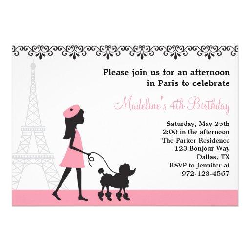 Paris Poodle Invitations Custom Invitations