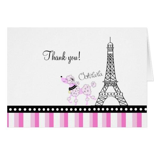 PARIS POODLE Ooh la la Folded Thank you note Card
