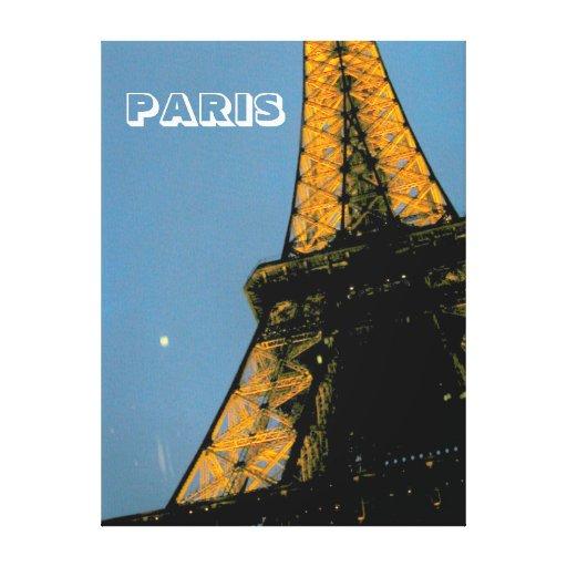 París por la noche, viaje Eiffel, 1 Impresión En Lienzo