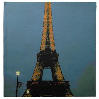 París por la noche, viaje Eiffel, Servilleta Imprimida