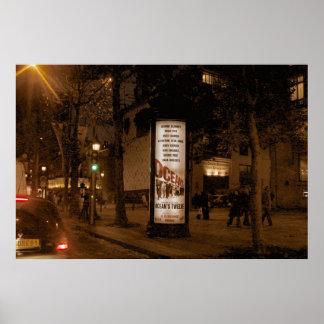 París por noche, Avenue de Champs Elysees Póster