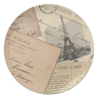 Paris Post Card Collage Plate