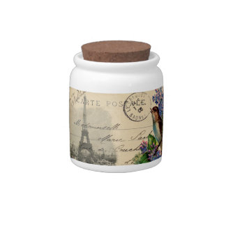 Paris Postcard Bird on Lilacs Candy Jar Canister