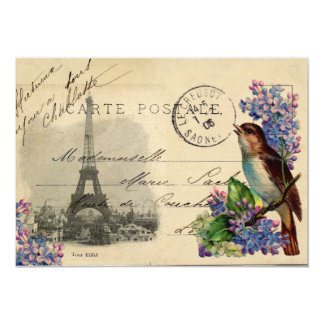 "Paris Postcard Bird on Lilacs Invitation 5"" X 7"" Invitation Card"