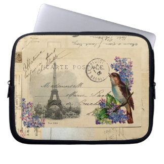 Paris Postcard Bird on Lilacs Laptop Sleeve