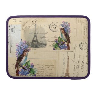 Paris Postcard Bird on Lilacs Mac Sleeve