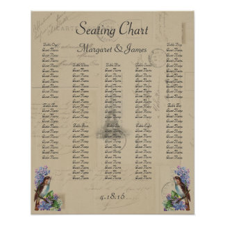 Paris Postcard Bird on Lilacs Seating Chart Poster
