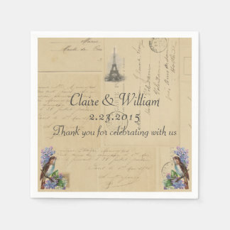 Paris Postcard Bird on Lilacs Wedding Napkin