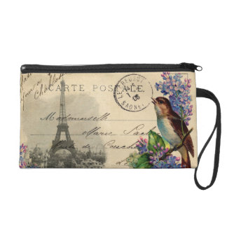 Paris Postcard Bird on Lilacs Wristlet