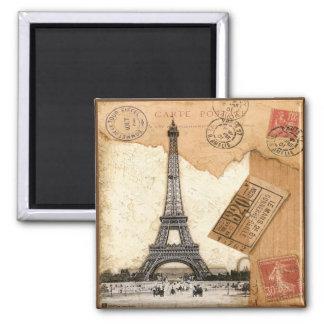 Paris, Postmark 2 Inch Square Magnet