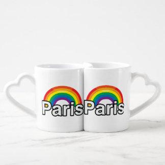 PARIS PRIDE RAINBOW -.png Couples' Coffee Mug Set