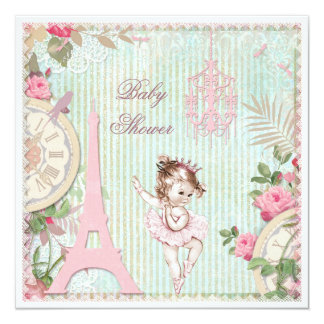 Paris Princess Ballerina Shabby Chic Baby Shower Card