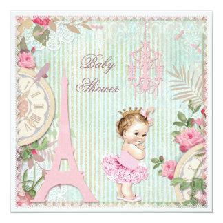 Paris Princess in Tutu Shabby Chic Baby Shower Card
