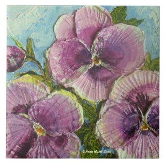 Paris Purple Pansies Tile
