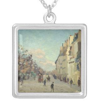 Paris, Quai de Bercy, Snow Effect, c.1873-74 Silver Plated Necklace