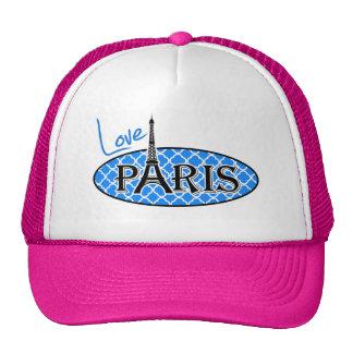 París; Quatrefoil azul azul Gorros Bordados