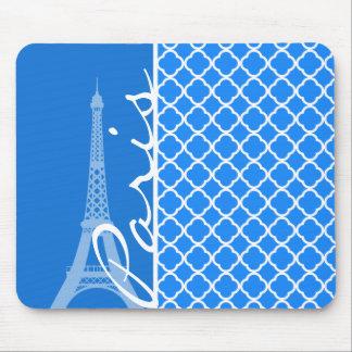 París; Quatrefoil azul azul Alfombrillas De Ratón