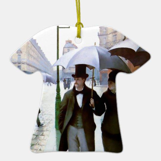 Paris rain couple under umbrella poster ceramic ornament