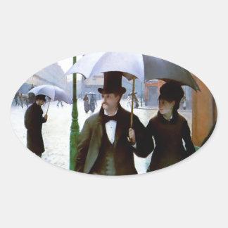 Paris rain couple under umbrella poster oval sticker