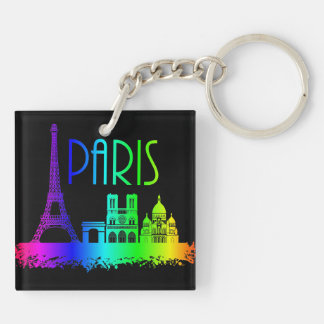 Paris Rainbow Monuments Eiffel Tower Double-Sided Square Acrylic Keychain