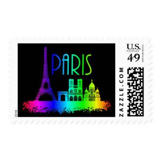 Paris Rainbow Monuments Eiffel Tower Postage Stamp