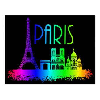 Paris Rainbow Monuments Eiffel Tower Postcard