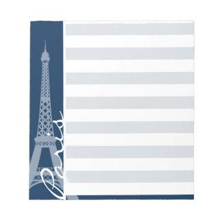 París; Rayas horizontales azules de medianoche osc Libreta Para Notas