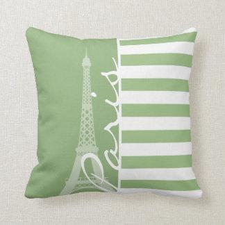 París; Rayas horizontales verdes del laurel Cojin