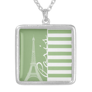 París; Rayas horizontales verdes del laurel Colgantes