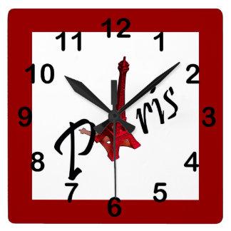 Paris, red Eiffel tower Square Wall Clock