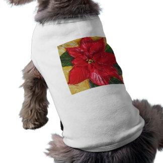 Paris' Red Poinsettia Doggie Tee