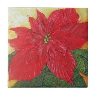 Paris Red Poinsettia Tile